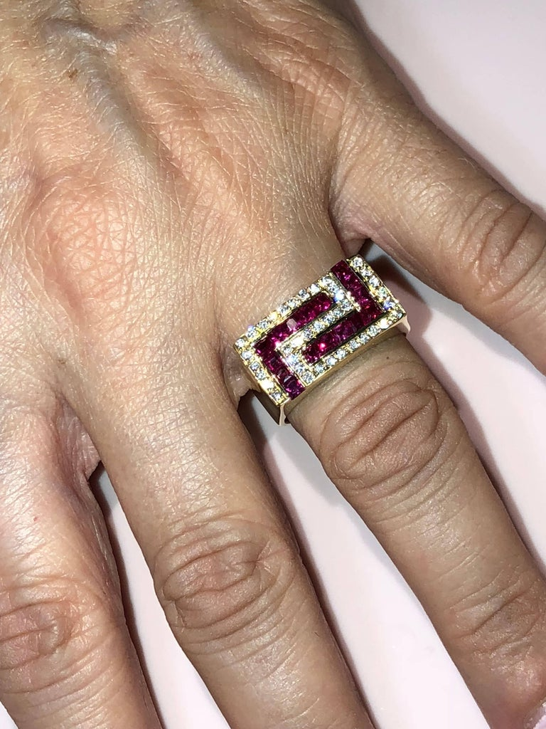 Princess Cut Georgios Collections 18 Karat Yellow Gold Unisex Diamond Blood Red Ruby Ring For Sale