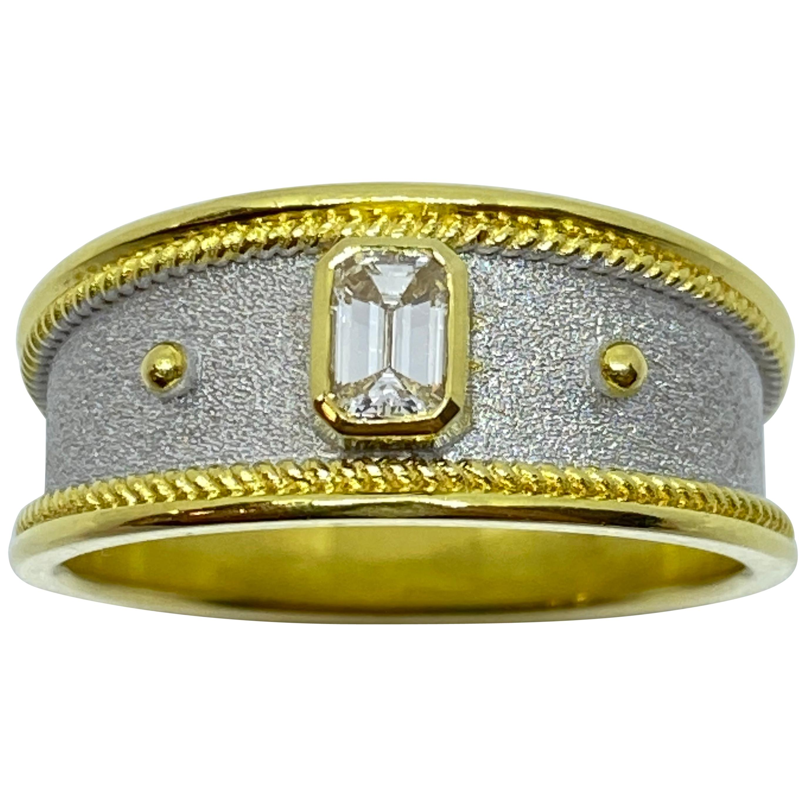 Georgios Collections 18 Karat Yellow Gold Unisex Diamond Two-Tone Band Ring