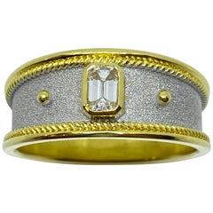 Georgios Collections 18 Karat Yellow Gold Unisex Diamond Two-Tone Band Ring