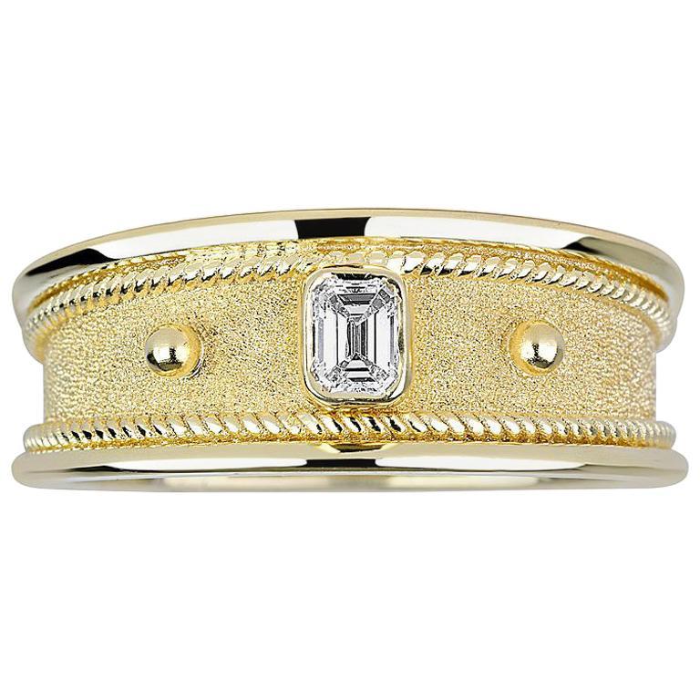 Georgios Collections 18 Karat Yellow Gold Unisex Emerald Cut Diamond Band Ring