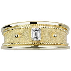 Georgios Collections 18 Karat Yellow Gold Unisex Emerald Cut Diamond Band Ring