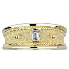 Georgios Collections 18 Karat Yellow Gold Unisex Emerald Cut Diamond Ring