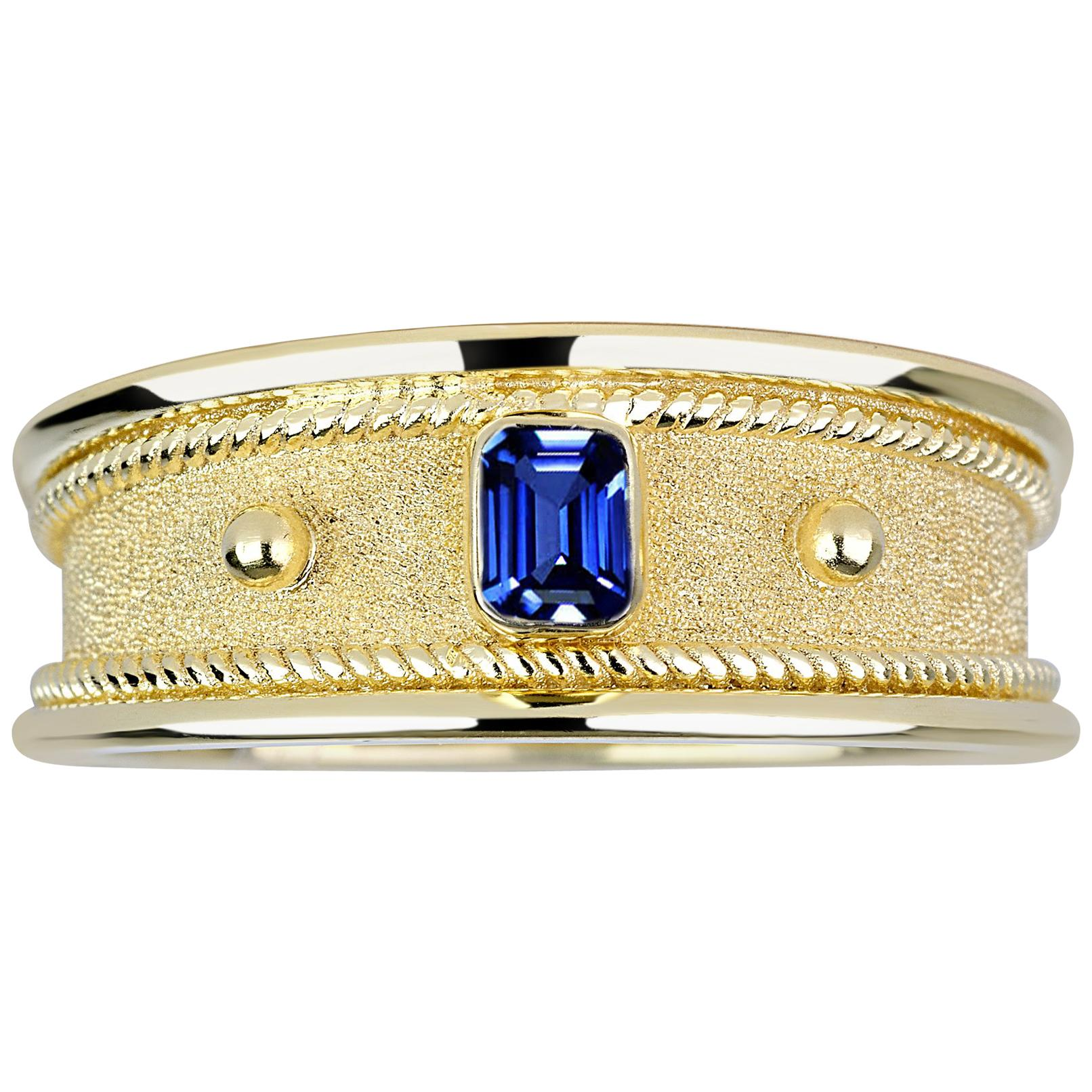 Georgios Collections 18 Karat Yellow Gold Unisex Ring with Emerald Cut Sapphire