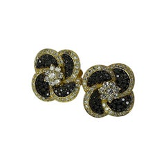Georgios Collections 18 Karat Yellow Gold White and Black Diamond Stud Earrings