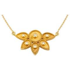 Georgios Collections 18 Karat Yellow Gold White Diamond Chain Pendant Necklace