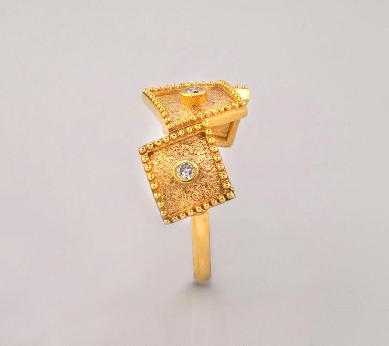 Georgios Collections 18 Karat Yellow Gold White Diamond Three-Stone Band Ring For Sale 5