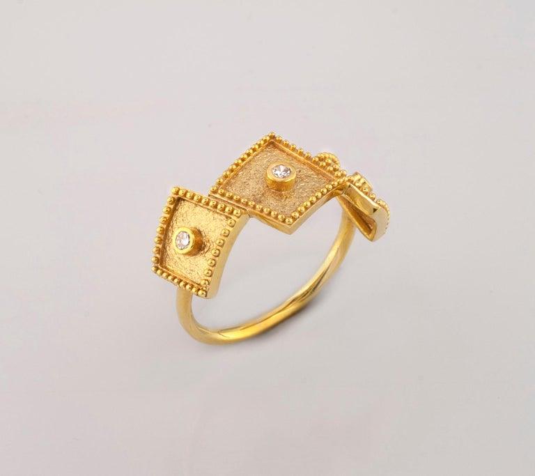 Georgios Collections 18 Karat Yellow Gold White Diamond Three-Stone Band Ring For Sale 6
