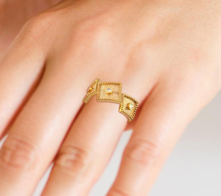 Georgios Collections 18 Karat Yellow Gold White Diamond Three-Stone Band Ring For Sale 7