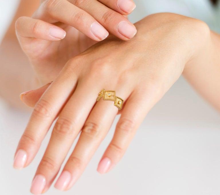 Brilliant Cut Georgios Collections 18 Karat Yellow Gold White Diamond Three-Stone Band Ring For Sale