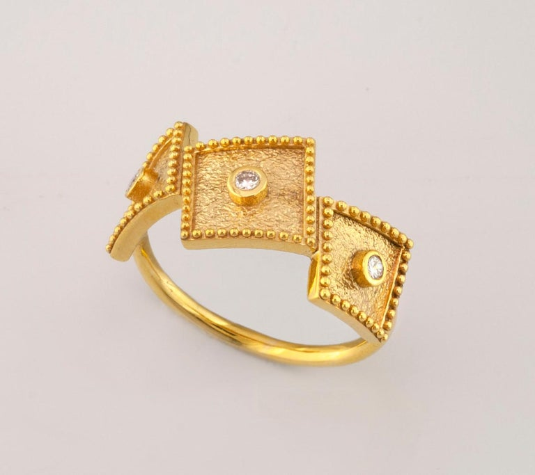 Byzantine Georgios Collections 18 Karat Yellow Gold White Diamond Three-Stone Band Ring For Sale
