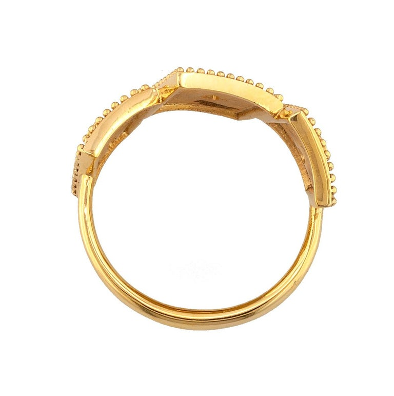 Georgios Collections 18 Karat Yellow Gold White Diamond Three-Stone Band Ring For Sale 1