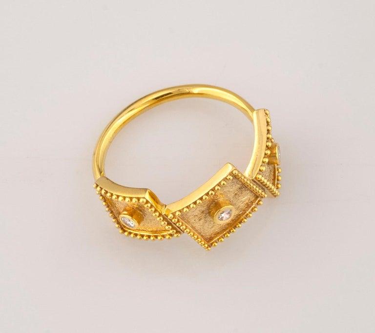 Georgios Collections 18 Karat Yellow Gold White Diamond Three-Stone Band Ring For Sale 2
