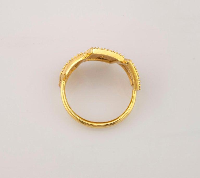 Georgios Collections 18 Karat Yellow Gold White Diamond Three-Stone Band Ring For Sale 3