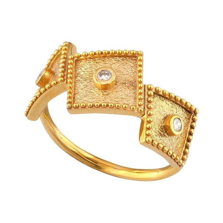 Georgios Collections 18 Karat Yellow Gold White Diamond Three-Stone Band Ring For Sale