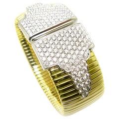 Georgios Collections 18 Karat Yellow Gold Wide Flexible Diamond Cuff Bracelet
