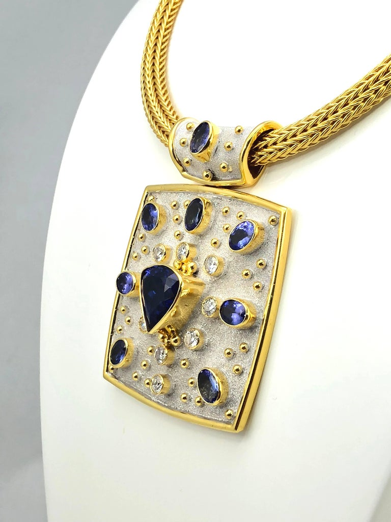 Trillion Cut Georgios Collections 18 Karat Yellow White Gold Tanzanite and Diamond Necklace For Sale