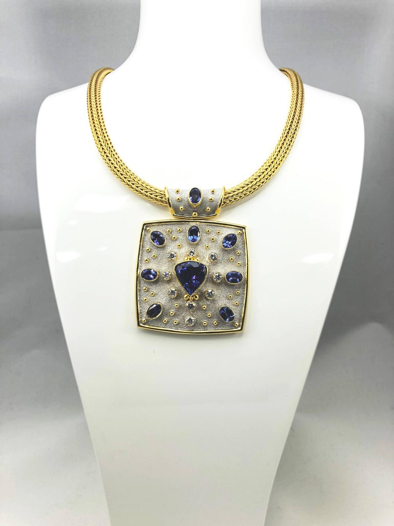 Georgios Collections 18 Karat Yellow White Gold Tanzanite and Diamond Necklace In New Condition For Sale In Astoria, NY