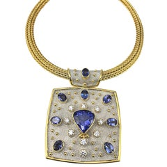 Georgios Collections 18 Karat Yellow White Gold Tanzanite and Diamond Necklace