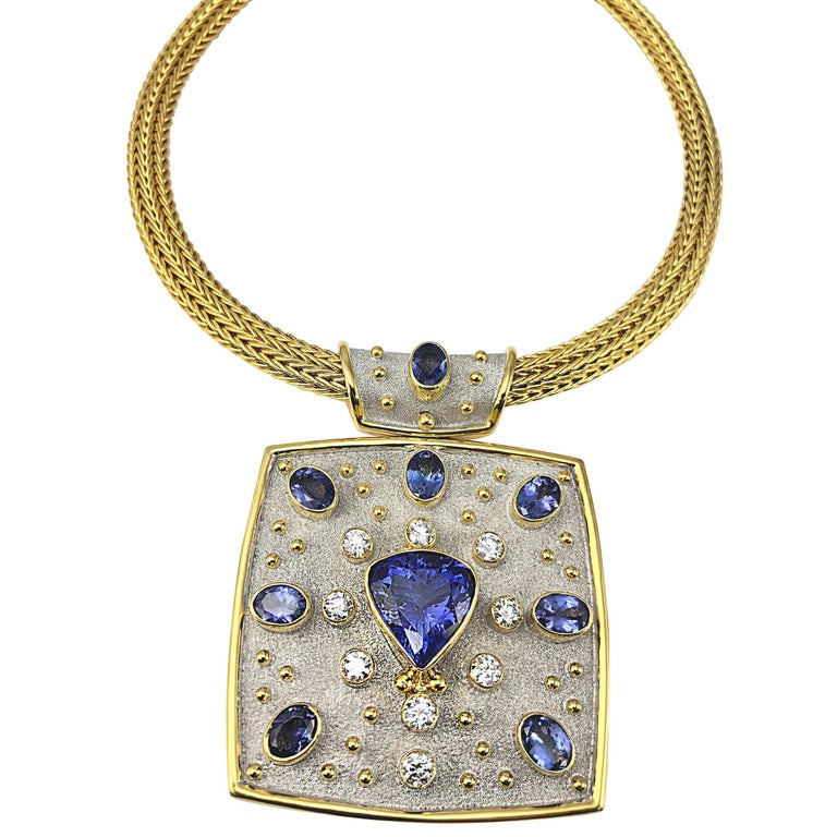 Georgios Collections 18 Karat Yellow White Gold Tanzanite and Diamond Necklace For Sale