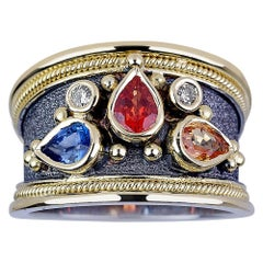 Georgios Collections 18Karat White and Yellow Gold Byzantine Multi Sapphire Ring