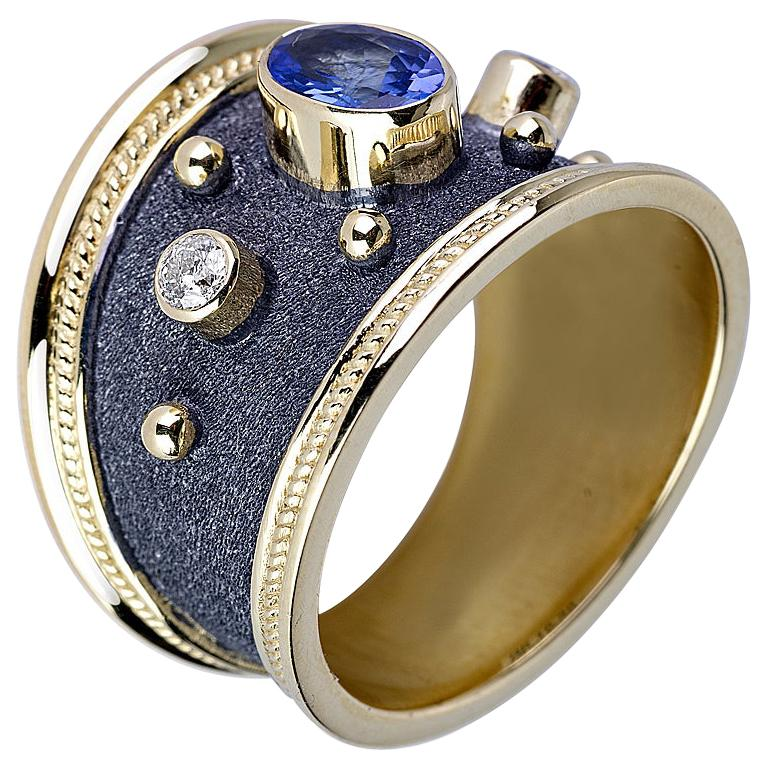 Georgios Collections 18 Karat Two-Tone Sapphire and Diamonds Wide Band Ring