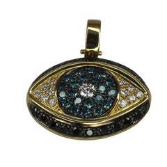 Georgios Collections Mati Pendant Yellow Gold 18 Karat Blue Black White Diamonds