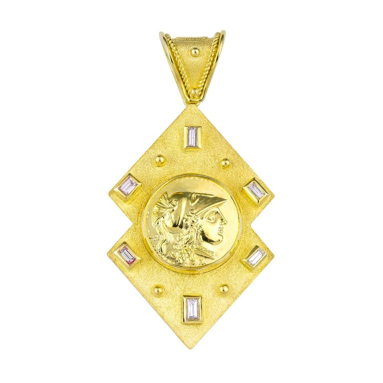Byzantine Georgios Collections Reversible 18 Karat Gold Diamond and Coin Pendant For Sale