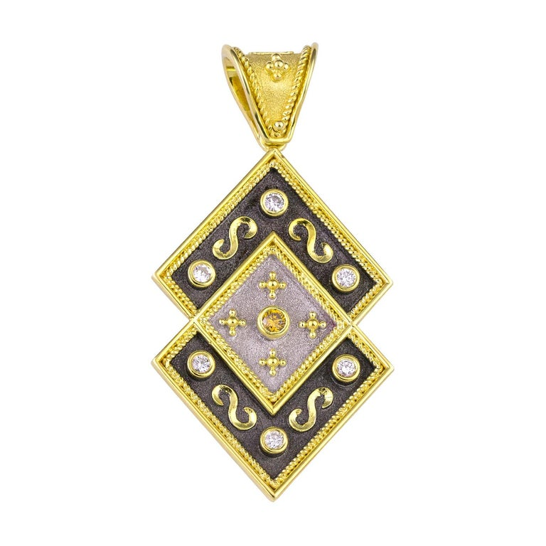 Georgios Collections Reversible 18 Karat Gold Diamond and Coin Pendant For Sale 1