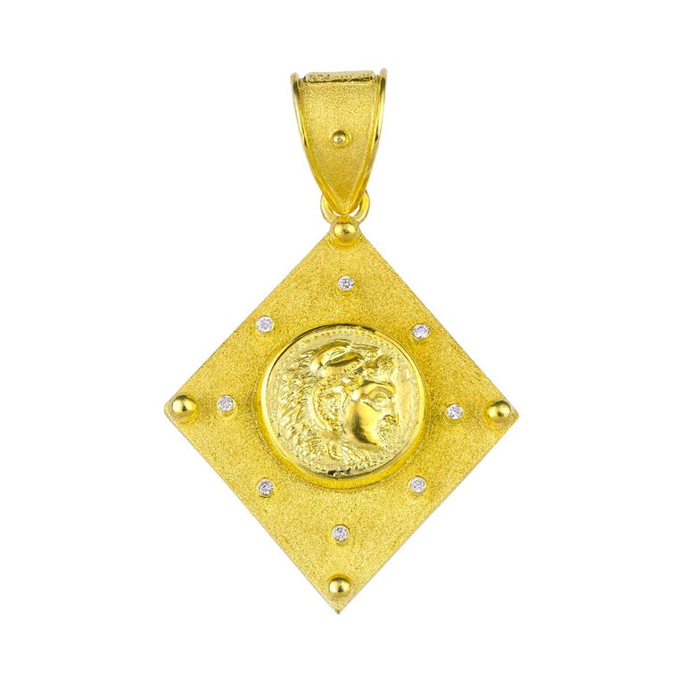 Byzantine Georgios Collections Reversible 18 Karat Gold Sapphire and Diamond Coin Pendant For Sale