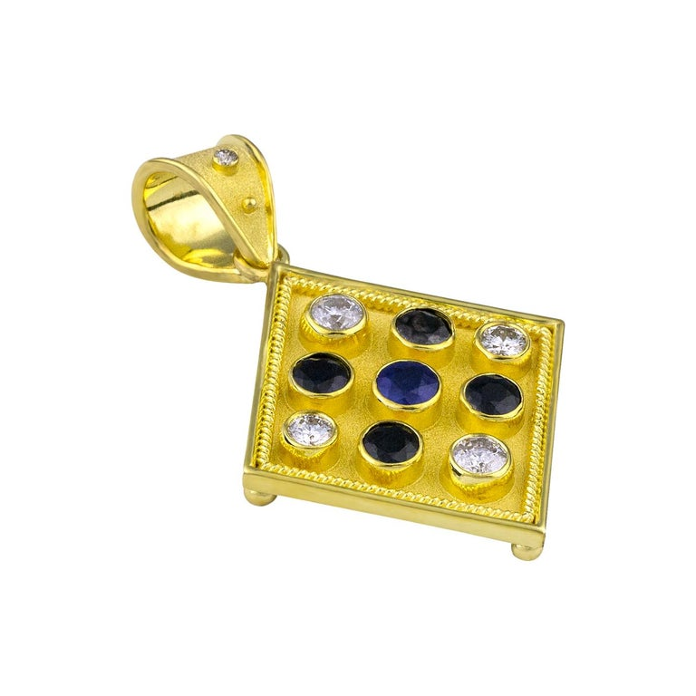 Round Cut Georgios Collections Reversible 18 Karat Gold Sapphire and Diamond Coin Pendant For Sale