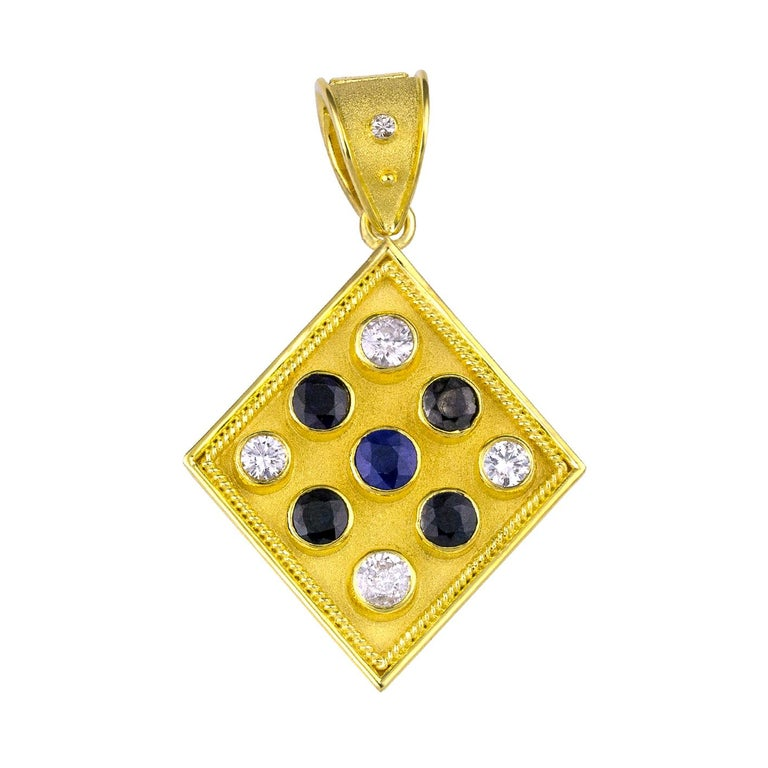 Georgios Collections Reversible 18 Karat Gold Sapphire and Diamond Coin Pendant For Sale 1