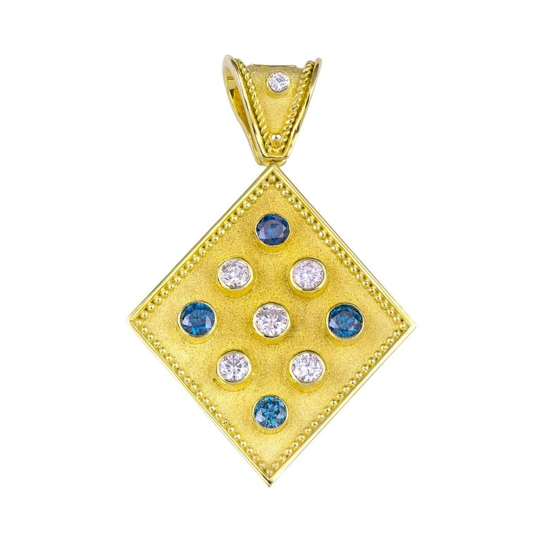 Byzantine Georgios Collections Reversible 18 Karat Gold Tanzanite and Diamond Coin Pendant For Sale