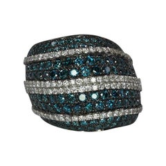 Georgios Collections White Gold 18 Karat Ring with Blue and White Diamond Pave