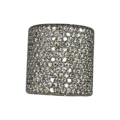 Georgios Collections Wide Pave Diamond Ring in 18 Karat White Gold