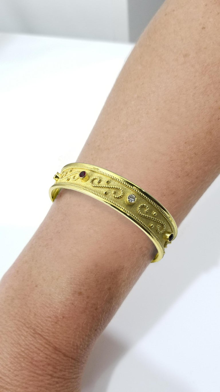 Georgios Collections Yellow Gold 18 Karat Diamond and Ruby Byzantine  Bracelet