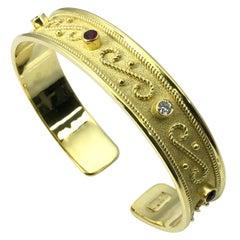 Georgios Sammlungen Gelb Gold 18 Karat Diamanten und Rubin byzantinisches Armband
