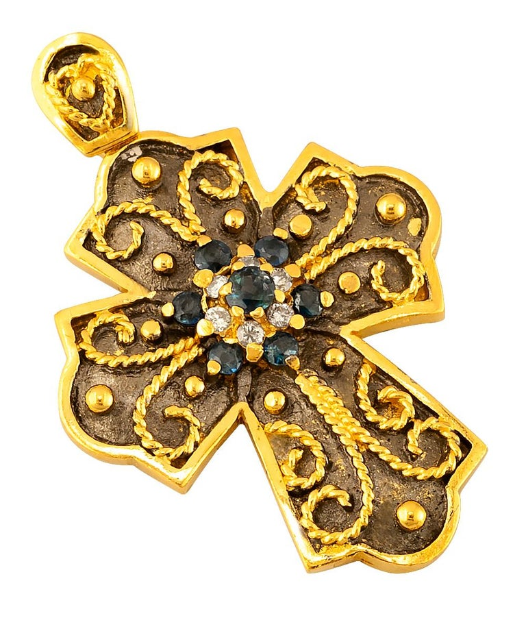 Byzantine Georgios Collections Yellow Gold 18 Karat Diamond and Sapphire Two-Tone Cross For Sale