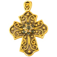 Georgios Collections Yellow Gold 18 Karat Diamond and Sapphire Two-Tone Cross