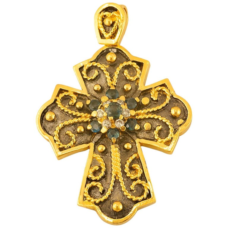 Georgios Collections Yellow Gold 18 Karat Diamond and Sapphire Two-Tone Cross For Sale