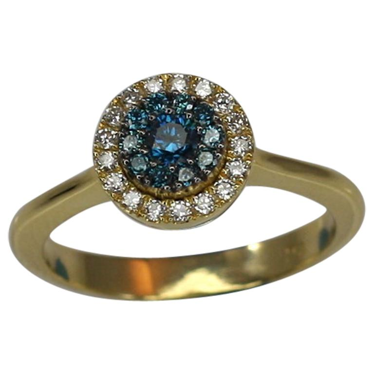 Georgios Collections Yellow Gold 18 Karat Blue and White Diamond Solitaire Ring