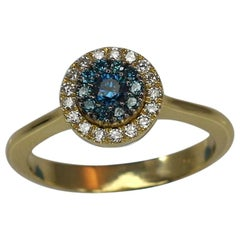 Georgios Collections Yellow Gold 18 Karat Ring with Blue and White Diamond Pave