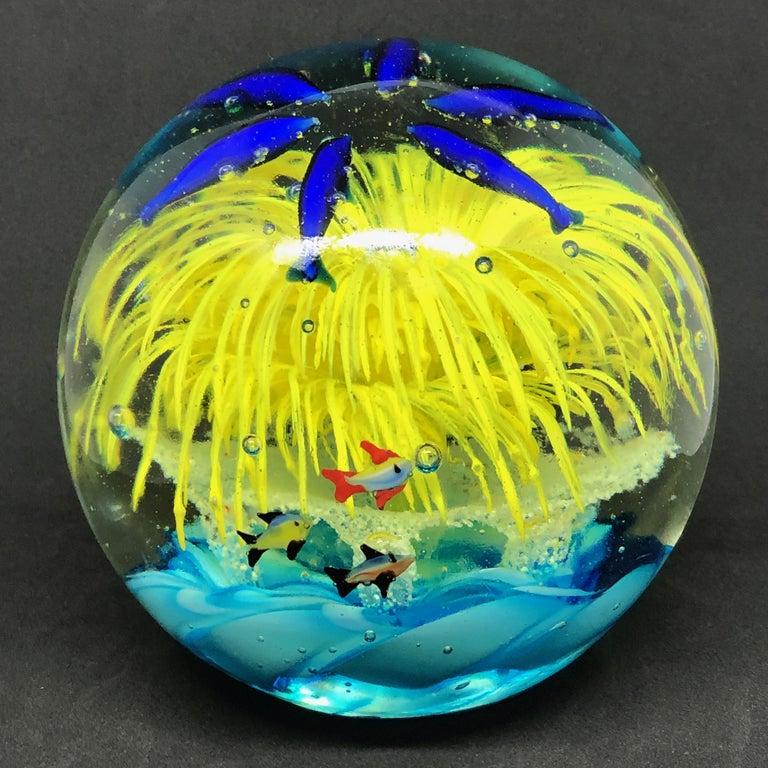 Georgous Big Dolphin and Fish Sea Murano Italian Art Glass Aquarium Paperweight For Sale 3