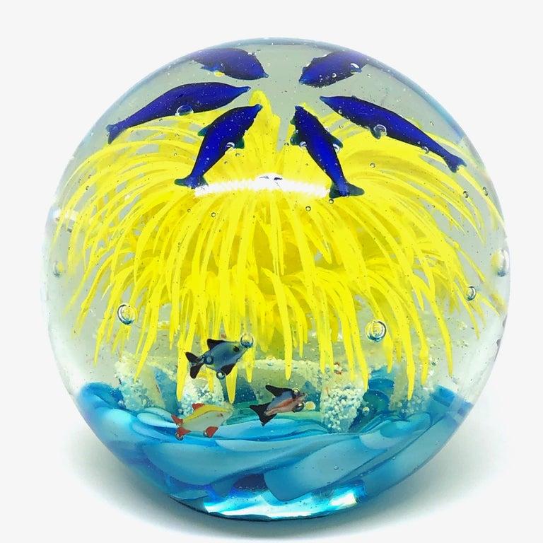 Mid-Century Modern Georgous Big Dolphin and Fish Sea Murano Italian Art Glass Aquarium Paperweight For Sale