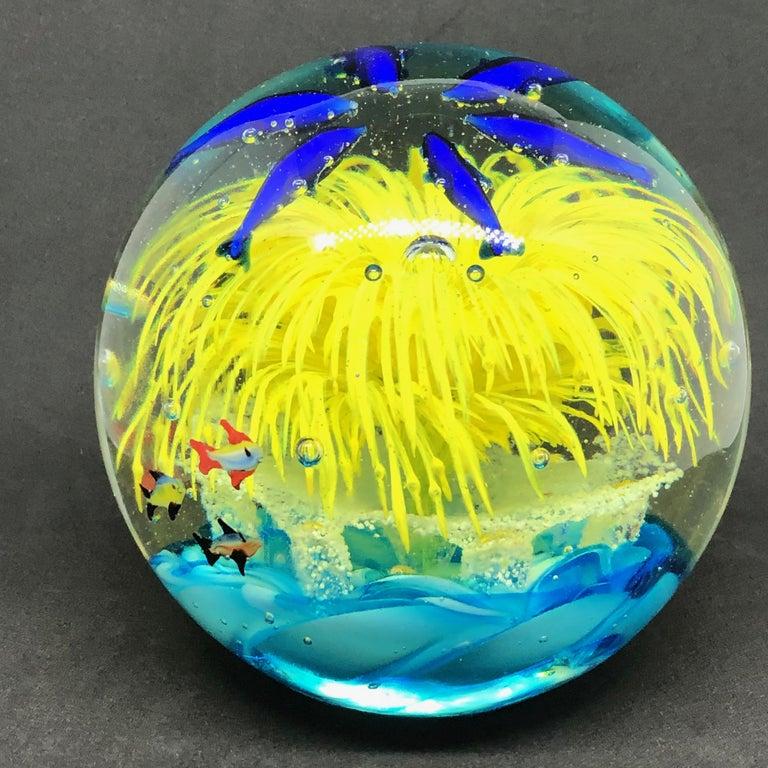 Murano Glass Georgous Big Dolphin and Fish Sea Murano Italian Art Glass Aquarium Paperweight For Sale