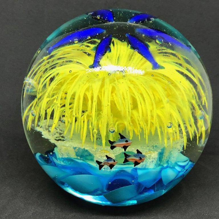 Georgous Big Dolphin and Fish Sea Murano Italian Art Glass Aquarium Paperweight For Sale 2
