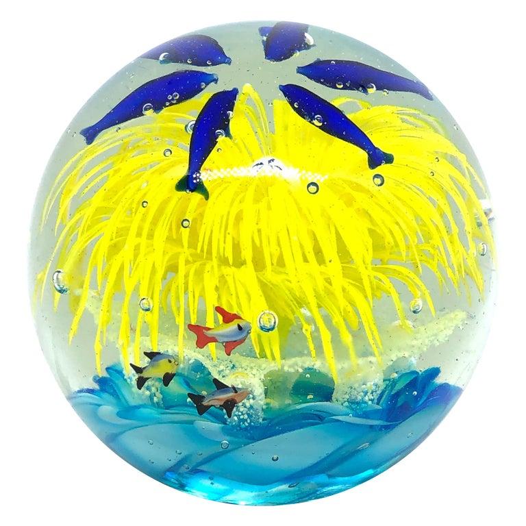 Georgous Big Dolphin and Fish Sea Murano Italian Art Glass Aquarium Paperweight For Sale