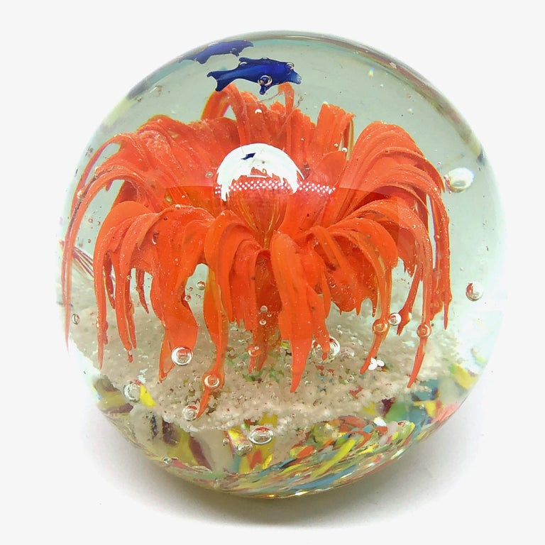 Mid-Century Modern Gorgeous Fish Sea Reef Murano Italian Art Glass Aquarium Paperweight For Sale