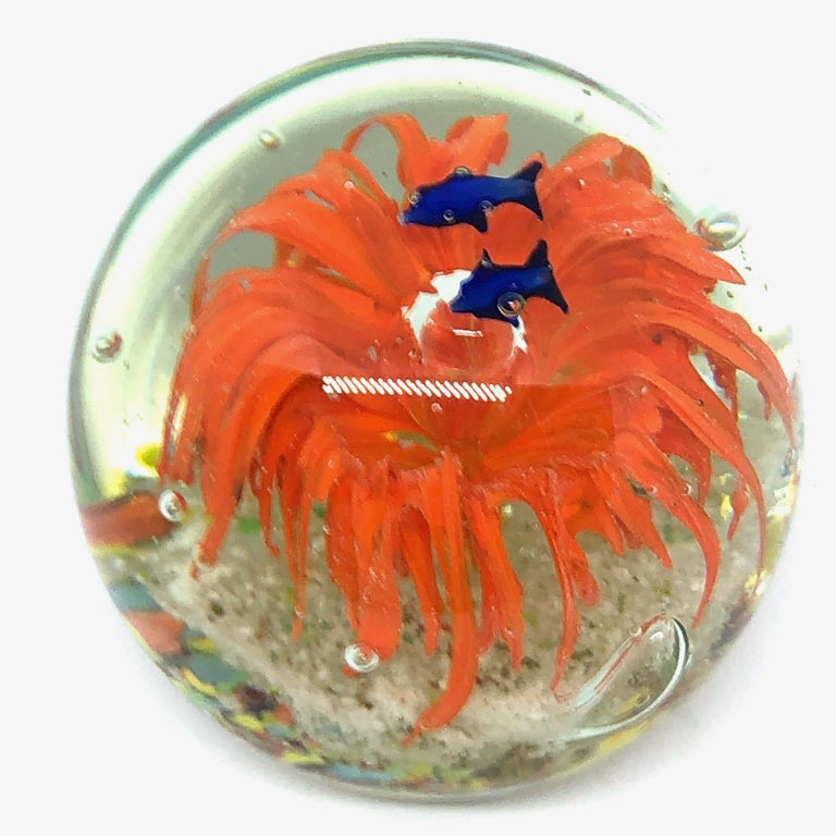 Late 20th Century Gorgeous Fish Sea Reef Murano Italian Art Glass Aquarium Paperweight For Sale