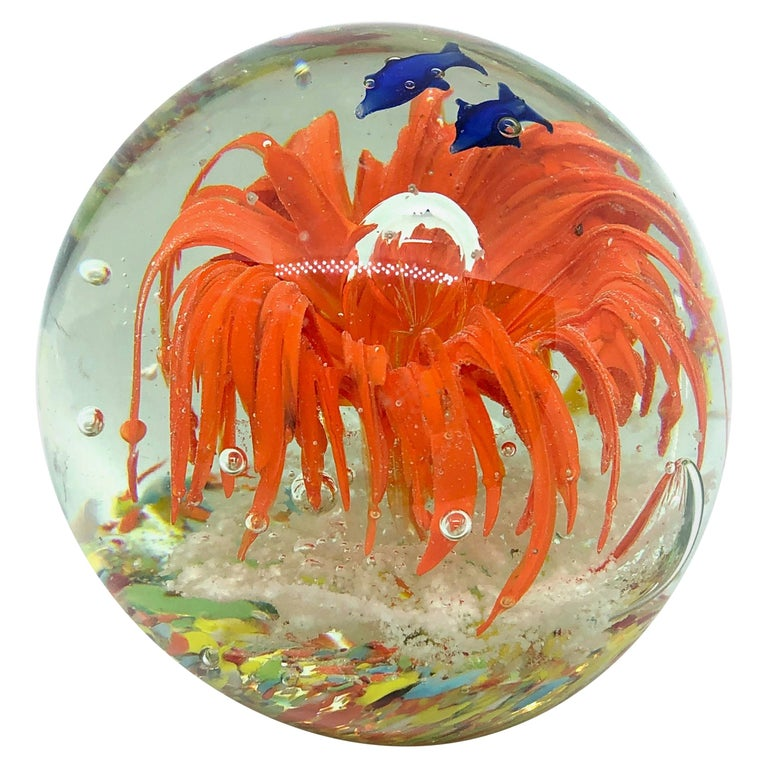 Gorgeous Fish Sea Reef Murano Italian Art Glass Aquarium Paperweight For Sale