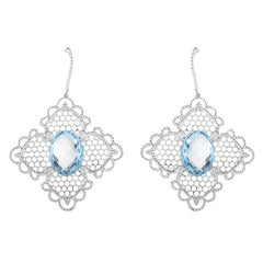 Georland 18 Karat White Gold Diamond and Topaz Lace Drop Earrings